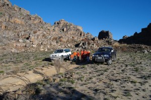 On the 4x4 route between Pakhuis and Heuningvlei. These are the 2 vehicles we were traveling in.