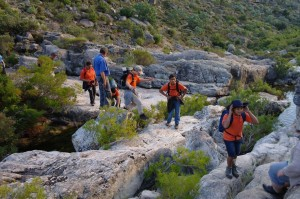 Crossing the stream on the way up to Boontjieskloof.