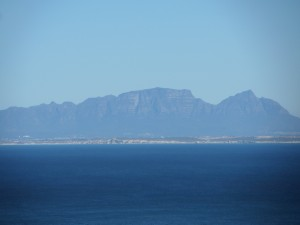 The view of Muizenberg mountain across the bay