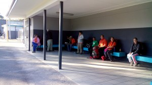 Waiting at van der Stel station for the train to Cape Town